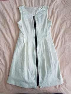 White Denim Dress with front zip