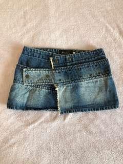 Denim button mini skirt