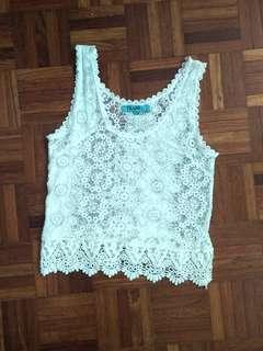 White Lace Crochet Crop Top