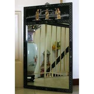 ~~~ VinTage ChiNeSe Jade in Laid  Mirror (Fu Lu Shou )$288 ~~~