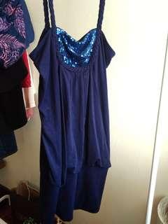 Valley Girl Navy Blue Party Dress