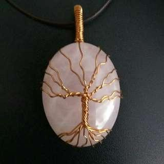 🚚 Tree of Life Rose Quartz Copper Wire Wrapped Gemstones Pendant Necklace, Unisex Pendant, Gift for Couples