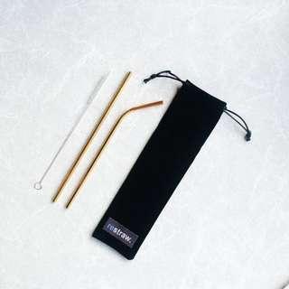 Set 2 Stainless Straws Gold