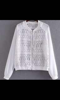 🚚 white crochet bomber jacket