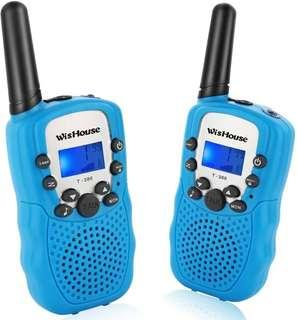 Wishouse Walkie Talkies for Kids,Fashion Toys for Boys and Girls Best Handheld Two Way Radio with Flashlight for 4 year old and up to Camping Hiking Riding and Cruise Ship(T388 Blue 2 Pack)
