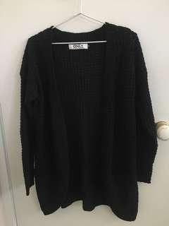 Black knit cardigan sweater with pockets