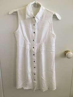 Minkpink white collared button down dress