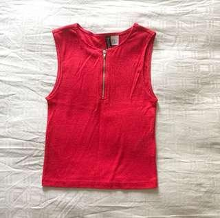 BN H&M red ribbed crop top