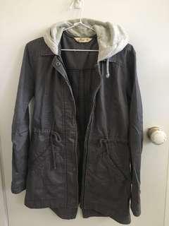 Hollister grey coat jacket w hoodie