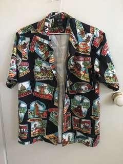Hawaiin travel postcard collared silk shirt