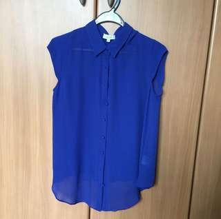 BN blue chiffon sleeveless blouse with inner cami
