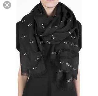 🚚 義大利製2019全新新款Kenzo黑色圍巾#眨眼睛圍巾