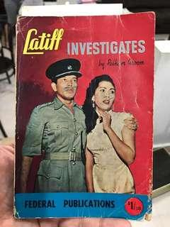 Vintage Book: Latiff Investigates by Pelham Groom featuring acclaimed Malay actor S. Roomai Noor & actress Umi Kaithum