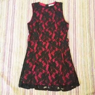 Dark Red Silk Dress with Black Lace Overlay #cnyred