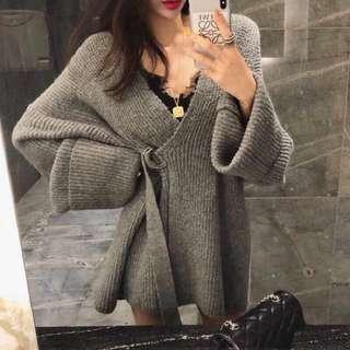 馬海毛v領開襟綁帶顯瘦慵懶寬鬆長板毛衣洋裝 灰