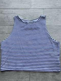 🚚 navy blue striped crop top