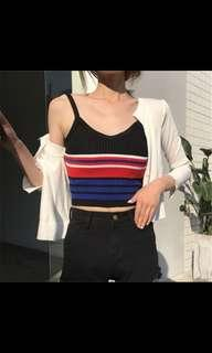 🚚 pleated stripes crop top