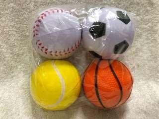 BN Brand New Squishy Sports Stress Balls Stressballs - Set of 4 Football Baseball Hockey Basketball Tennis