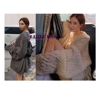❤FIFI❤麻花慵懶寬鬆長板針織羊毛衣洋裝 米灰