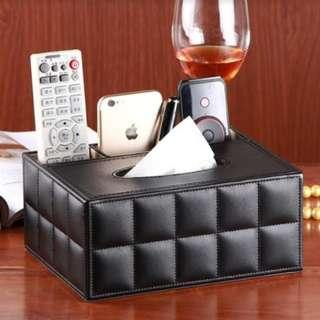 Black PU Leather Tissue Box