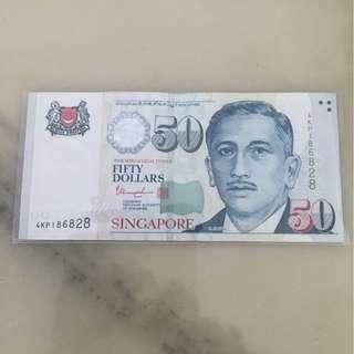 S'pore Portrait Paper $50 Auspicious No: 18 6828 ( Circulated )