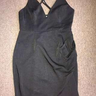 Low cut black cross dress
