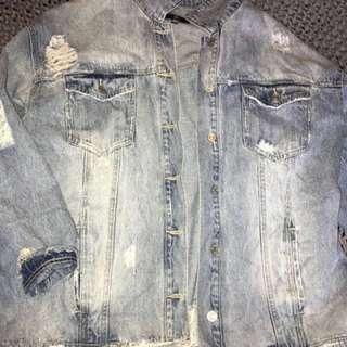 MISGUIDED Distressed oversized denim jacket