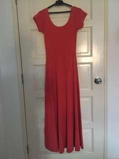 Salmon Cotton Long Dress