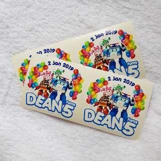 Birthday sticker / greeting sticker / goodie bag sticker /wedding sticker