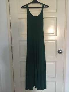 Dark Green Sleeveless Cotton Dress