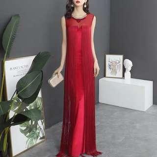Red elegant tassle Dress / evening gown