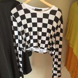 CHECKERED long sleeve crop from PLT