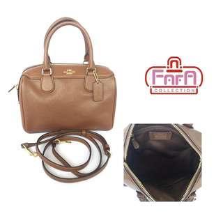 Coach F32202Crossgrain Leather Mini Bennett Satchel Bag Brown