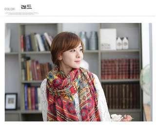 全新 桃紅波希米亞圖藤民族風巴黎紗披肩 頸巾 100%new 冷氣圍巾 scarf 最後一條