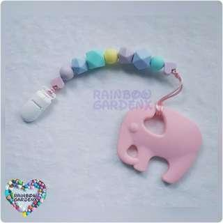 Handmade Silicone pastel beads Pacifier Clip + Pastel Pink Elephant teether combo