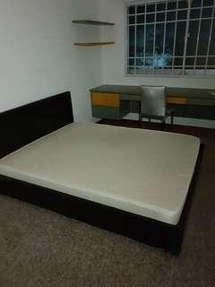Queensize bedframe and mattress,$150 provide delivery