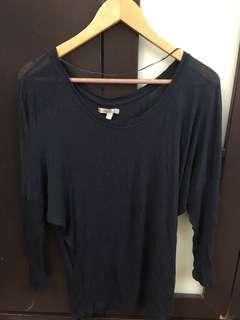 Zara Long Sleeve Dark Blue Top