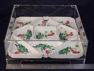 清代 - 粉彩花鳥九子盆全盒 連訂製亞加力盒