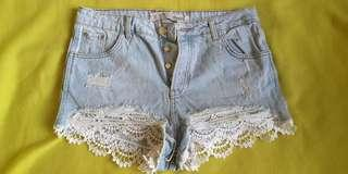 High Waist Button Fly Denim shorts with lace