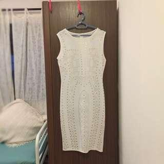 White Dress with gold print silhouette