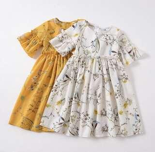 🚚 BN Toddler Girl Korean Style Floral Long Sleeves Dress White / Mustard Yellow avail! 3T and 4T!