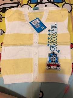 Thomas 黃白橫間棉質開鈕外套size 80-100 (半價)