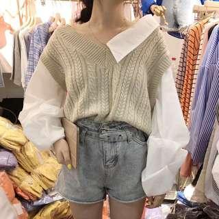 ❤FIFI❤顯白杏色不規則露肩假兩件燈籠袖螺紋針織毛衣襯衫
