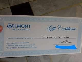 Belmont Hotels and Resort Gift Certificate