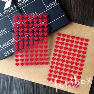 *funibox*紅色愛心立體毛氈貼紙2張168枚入/手作相冊日記卡片名信片手帳裝飾貼紙