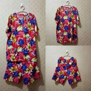 Baju Tidur Setelan Batik Rayon Lengan Pendek Celana Pendek