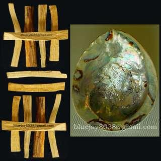 Abalone Shell & Palo Santo for SMUDGING purification -- 00299