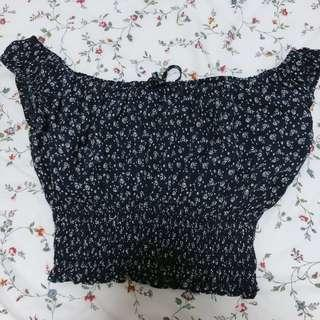 Brandy melville navy floral marilyn off shoulder top