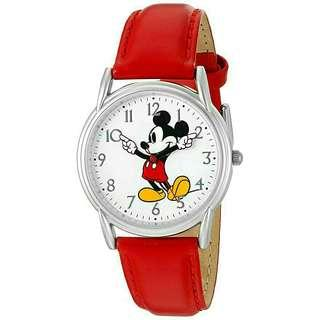 Women's Watch Disney Mickey Mouse Leather Red W002753
