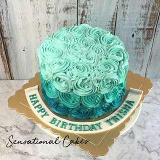 Teail Ombre full rosette birthday cream cake #singaporecake